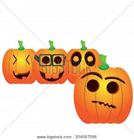 Set of jack-o-lanterns on a white background, Vector illustration
