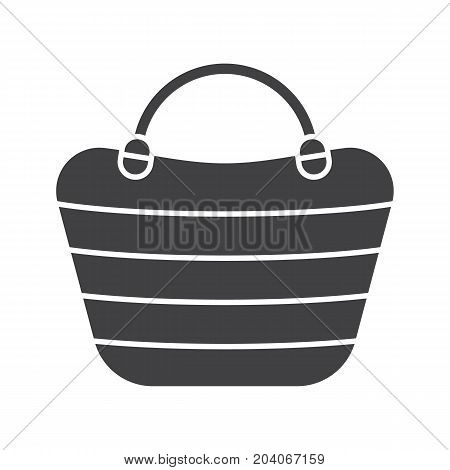Beach bag glyph icon. Silhouette symbol. Beach tote. Negative space. Vector isolated illustration