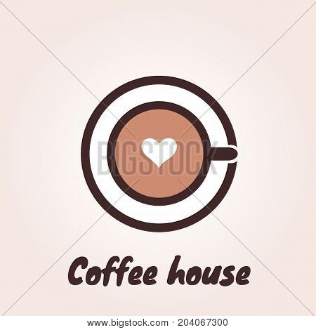 Top view of a cup of coffee on a saucer with foam in the shape of heart. Vector logo template for cafe restaurant menu coffee shop. Icon of coffee cup.