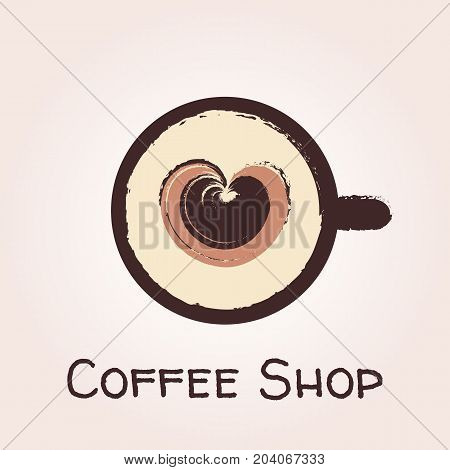 Top view of a cup of coffee on a saucer with foam in the shape of heart painted in brush style. Vector logo template for cafe restaurant menu coffee shop. Icon of coffee cup.
