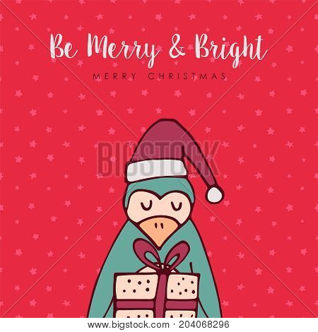 Merry Christmas Red Penguin Cartoon Greeting Card