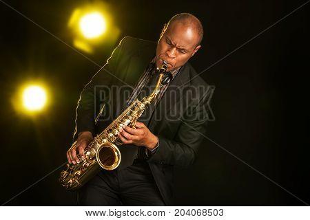 Play man playing sax saxophone entertainment background
