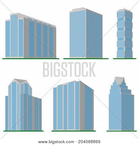 Set of six  modern high-rise building on a white background. View of the building from the bottom. Isometric vector illustration.