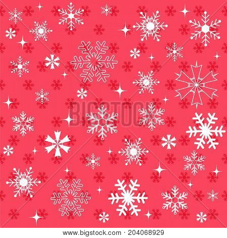 Winter snowflakes red background and vector illustration