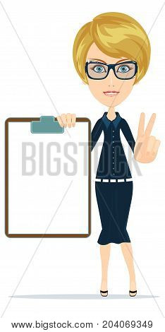 Portrait of the business woman with a represent folder. Stock flat vector illustration.