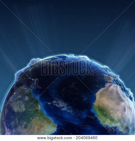 Trance Atlantic at night. Earth map from NASA 3d rendering