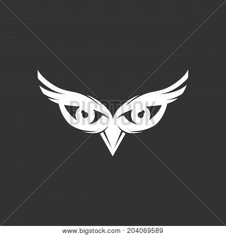 Owl eyes icon isolated on black background. Owl eyes vector logo. Flat design style. Modern vector pictogram for web graphics - stock vector