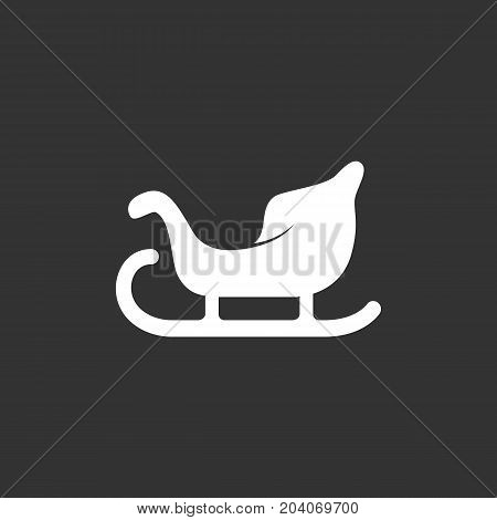 Sleigh icon isolated on black background. Sleigh vector logo. Flat design style. Modern vector pictogram for web graphics - stock vector