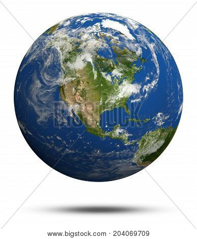 America. Earth globe model, maps courtesy of NASA 3d rendering