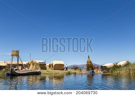 Titicaca Lake, Peru - October 14, 2015: The less touristic Titino Floating Islands on the Titicaca Lake.