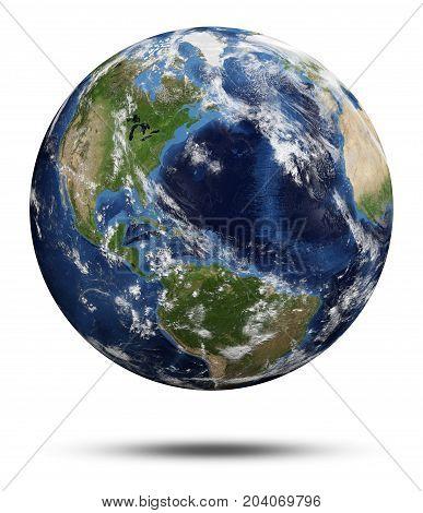 Planet Earth. Earth globe 3d rendering, maps courtesy of NASA