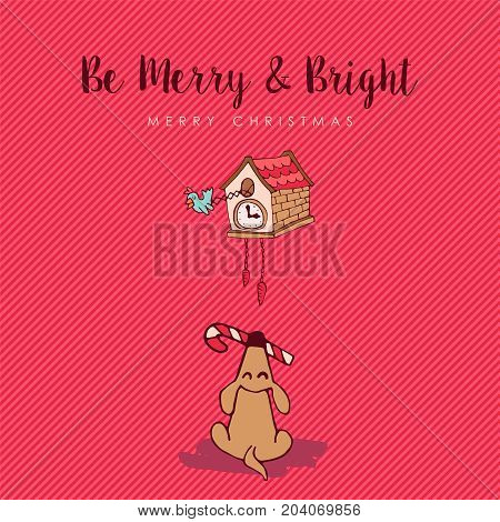 Merry Christmas Funny Dog Cartoon Greeting Card