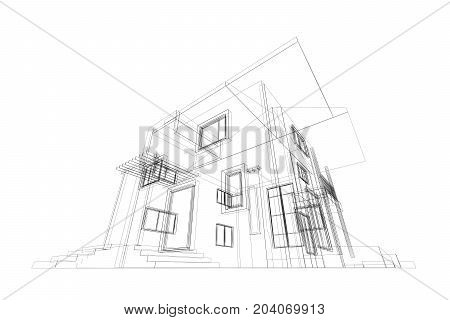 Blueprint. Building design and 3d rendering model my own