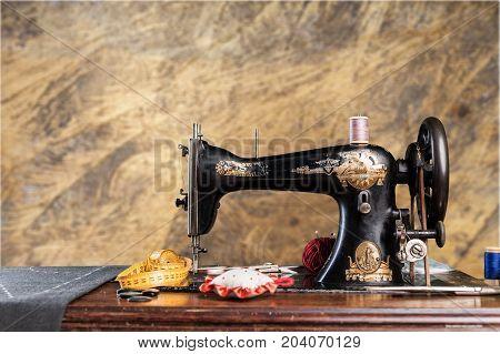 Retro machine sew sewing background nobody design