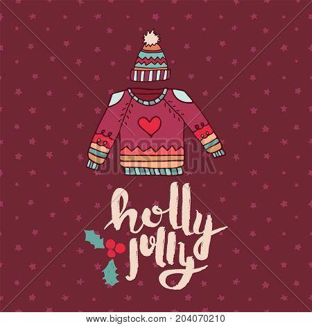 Christmas Sweater Fashion Cartoon Holiday Card