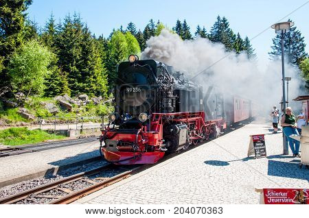 Schierke Germany - May 27. 2017: Old steam train on the Brockenbahn