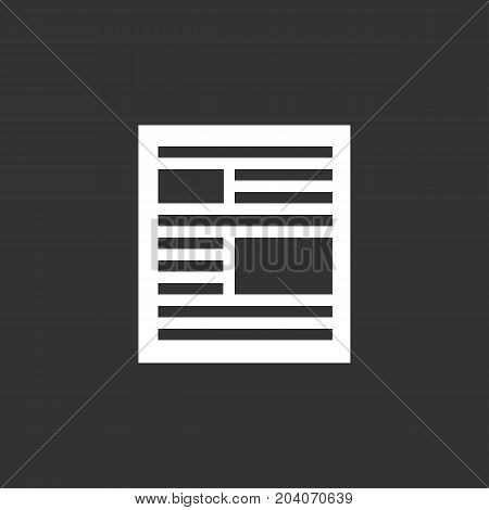 News icon isolated on black background. News vector logo. Flat design style. Modern vector pictogram for web graphics - stock vector