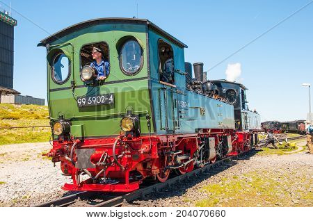 Brocken Germany - May 27. 2017: Steam train shunting at Brocken train station