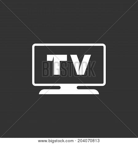 TV icon isolated on black background. TV vector logo. Flat design style. Modern vector pictogram for web graphics - stock vector