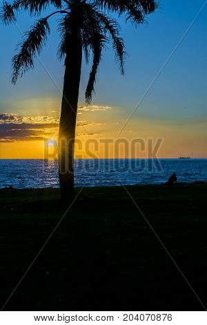 Sunset Scene At Coast, Montevideo, Uruguay