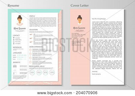 Feminine Resume With Infographic Design. Stylish Cv Set For Wome