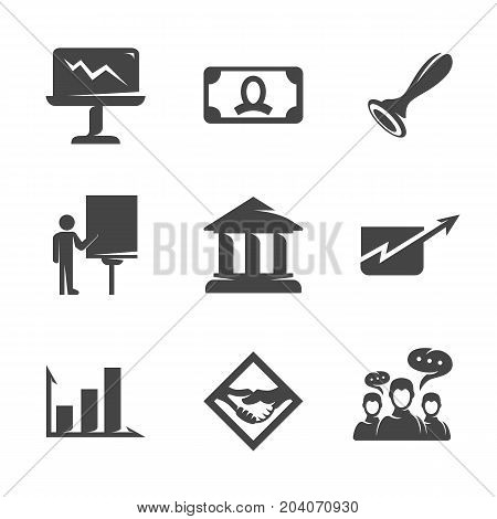 Modern icons set silhouettes of business presentation contract signing. Symbol presentation collection isolated on white background. Modern business flat pictogram illustration. Vector logo concept for web graphics - stock vector