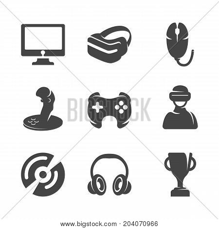 Modern icons set silhouettes of game and accessories. Symbol collection of joystick virtual reality glasses isolated on white background. Modern flat pictogram illustration. Vector game logo concept for web graphics - stock vector