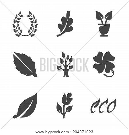 Modern icons set silhouettes of ecology nature and environment conservation. Eco symbol collection of leaves tree flower isolated on white background. Modern flat pictogram illustration. Vector logo concept for web graphics - stock vector