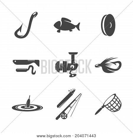 Modern icons set silhouettes of fishing lures and equipment. Fishing symbol collection isolated on white background. Flat pictogram illustration. Vector logo concept for web graphics - stock vector