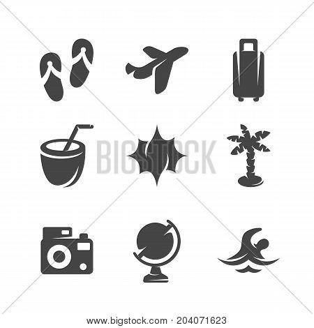 Modern icons set silhouettes of summer travel. Travel symbol collection isolated on white background. Modern flat pictogram illustration. Vector logo concept for web graphics - stock vector