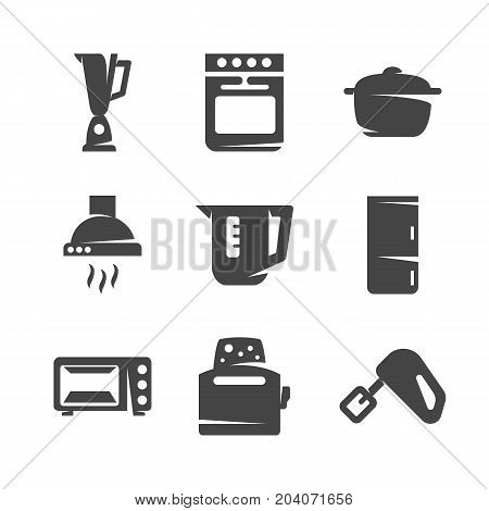 Modern icons set silhouettes of kitchen appliances. Kitchen appliances symbol collection isolated on white background. Flat pictogram illustration. Vector logo concept for web graphics - stock vector