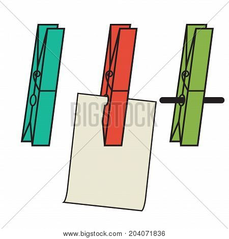 Clothes clips simple holding a piece of paper on a string