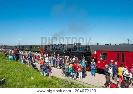Brocken Germany - May 27. 2017: Tourists waiting for the train at Brocken train station