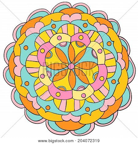 Vector hand drawn floral mandala ornament in bright bold colors for children clothing meditation and yoga designs