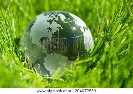 Ball glass globe sphere white blue crystal