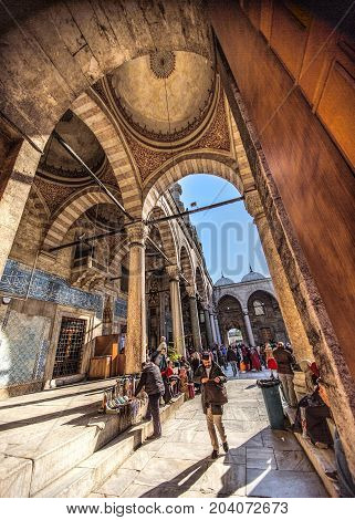 ISTANBUL TURKEY: Courtyard of the Yeni Mosque New Mosque or Mosque of the Valide Sultan on April 11 2015