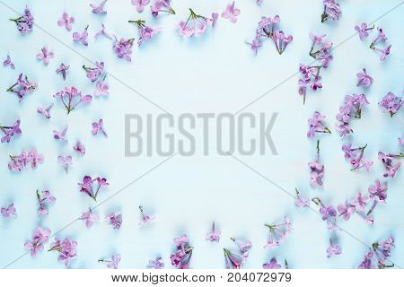 Lilac flowers on blue background with copy-space