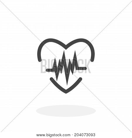 Heart cardiology icon isolated on white background. Heart life vector logo. Flat design style. Modern vector pictogram for web graphics - stock vector