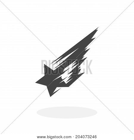 Shooting star icon isolated on white background. Shooting star vector logo. Flat design style. Modern vector pictogram for web graphics - stock vector
