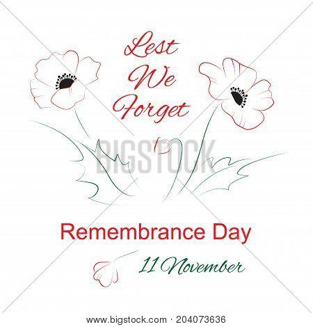 Remembrance day symbol. Lest we forget lettering. Vector illustration