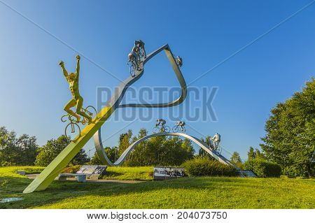 SoumoulouFrance - July 232014: Image of the monumental sculpture