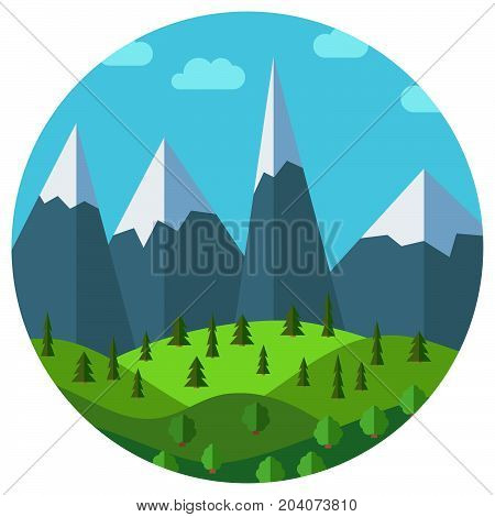 Vector cartoon mountain landscape in circle. Natural landscape in the flat style with blue sky, clouds, trees, hills and mountains with snow on the peaks.