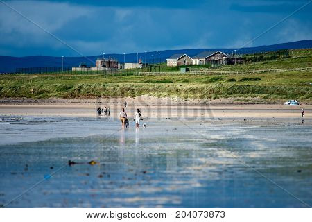ROSSNOWLAGH, IRELAND - AUGUST 26, 2017: View of Rossnowlagh Beach, Donegal, Ireland, Europe