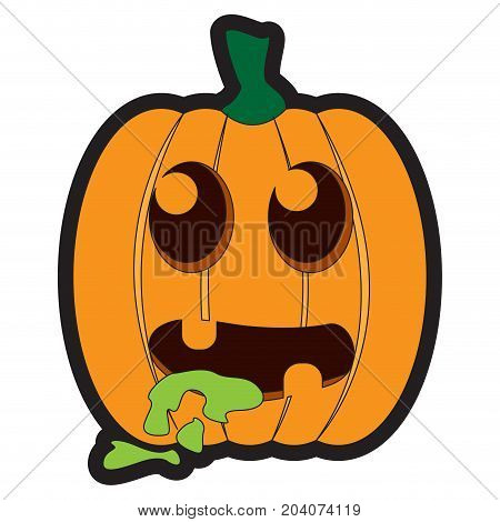 Isolated sick jack-o-lantern on a white background, Vector illustration