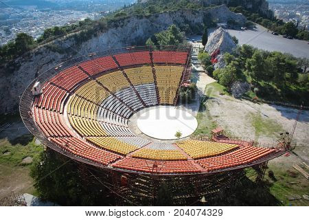 Amphitheater on Mount Lycabettus, City of Athens, Greece