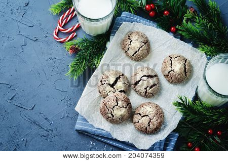 Chocolate Crinkle cookies for Christmas on a stone background