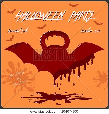 Vector template of Halloween party invitation card. Concept with bloody kettlebell with wings on the orange background.