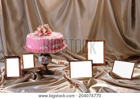 Sweet cake decorated with fondant on the plate