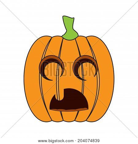 Isolated sad jack-o-lantern on a white background, Vector illustration