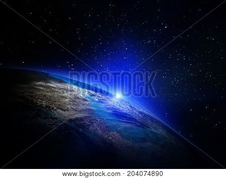 World from space. Elements of this image furnished by NASA 3d rendering